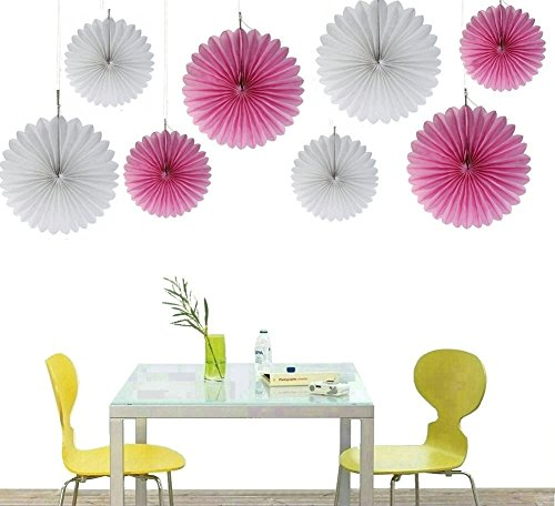 Zorpia® Decorative Fan - Tissue Paper Fan Collection - 8 Assorted Fans of 10, 16-Inch, 8 Pieces, Assorted Colors (White Pink Party) (Decorative Fan Pink compare prices)