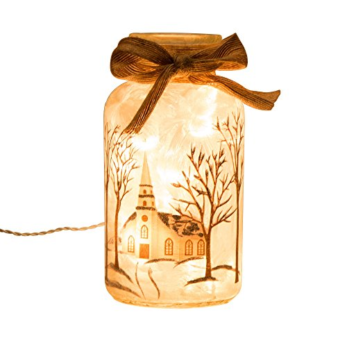 Glitzhome Lighted Frosted Church Glass Mason Jar (Lighted Jars compare prices)