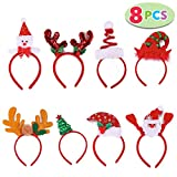 JOYIN Pack of 8 Christmas Headbands with Different Designs for Christmas and Holiday Parties (ONE Size FIT ALLL)