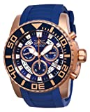 Invicta Pro Diver Swiss Made Men's Quartz Watch with Blue Dial Chronograph Display and Blue PU Strap in Rose Gold Plated Stainless Steel Case 14674