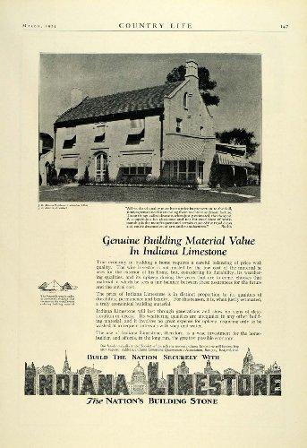 1924 Ad Indiana Limestone J. B. Martin Home Columbus Ohio Building Materials - Original Print Ad