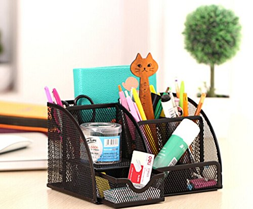 6 Compartment Office Supply Caddy,Black