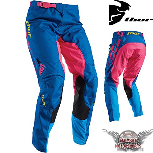 Pantaloni motocross donne Thor Pulse Facet rosa blu Cross Offroad, Enduro, Quad MX