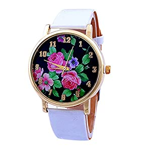 Women Ladies Rose Flower Printed Dial Leather Strap Quartz Wrist Watch White