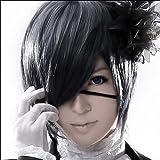 Mordor Black Butler Kuroshitsuji Ciel Phantomhive Cosplay Black Gray Cosplay wig+free wig cap MH