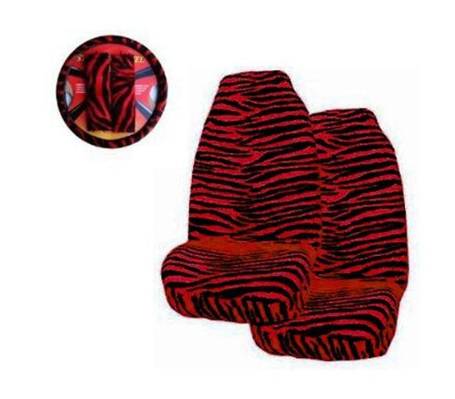 Red Zebra Print 5-piece Highback Seat Covers / Steering Wheel Cover / Shoulder Belt Pads