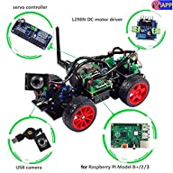 Smart Video Car Kit for Raspberry Pi with Android App, Compatible with RPi 3, 2 and RPi 1 Model B+…