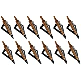 Huntingdoor 12Pack 3 Fixed Blade Archery Broadheads 125 Grain Arrow Head Hunting Arrow Tips Golden For Compound...