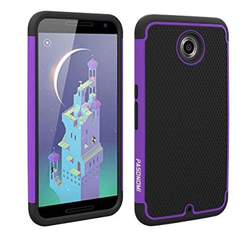 Google Nexus 6 Case, Pasonomi® Premium Heavy Duty Hybrid Shockproof Water Dust Resistant Armor Cover for Motorola Google Nexus 6 (Purple)