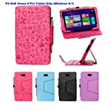 i-UniK Dell Venue 8 PRO Windows 8.1 HD Tablet (8 inch) Slim PU Leather Protection Case [Bonus Stylus Included] (Cute Pink)