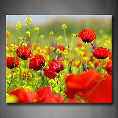 Red Red Poppy And Wild Flowers In Field Wall Art Painting The Picture Print On Canvas Flower Pictures For Home Decor Decoration Gift (Stretched By Wooden Frame,Ready To Hang)