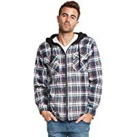 9 Crowns Essentials Mens Quilted Lightweight Plaid Hooded Jacket
