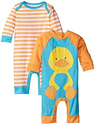 Gerber Unisex-Baby Newborn 2 Pack Coverall, Duck, 6-9 Months