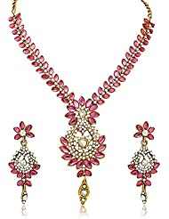 Dazzling Pink Kundan Floral Design Gold Plated Necklace Set