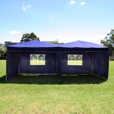 10 x 20 Pop-up BLUE Canopy w/ 6 Side Walls EZ to set up