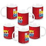New Year Gifts HomeSoGood Stay Happy In New Year White Ceramic Coffee Mug - 325 ml (Set Of 6)