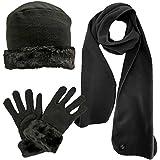 Luxury Divas Fleece Hat Scarf & Glove Set With Cloche Fur Trim