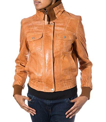 Womens Tan New Soft Leather Rib Knit Collar Vertical Pressed Stud Bomber Jacket