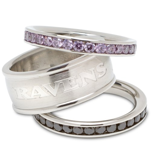 Baltimore Ravens Logo Crystal Stacked Ring Set (Size 8) at Amazon.com