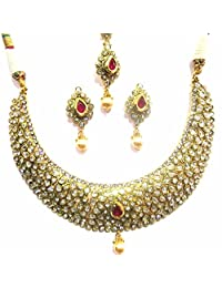 Shingar Jewellery Ksvk Jewels Antique Gold Plated Polki Kundan Necklace Set For Women (9251-as-ruby-1)
