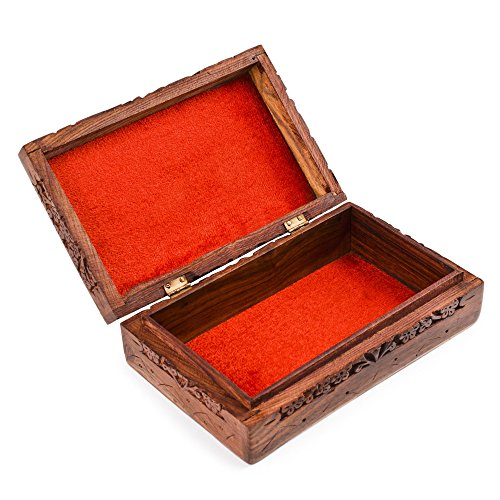 Rusticity Medium Decorative Box - 8 in x 5 in - Intricately Carved Jewelry Box - Handmade from Indian Rosewood