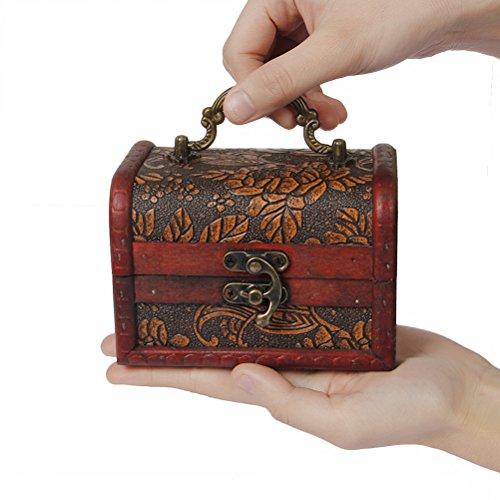 Decorative Storage Boxes Vintage : Valdler antique wooden embossed flower pattern jewelry box