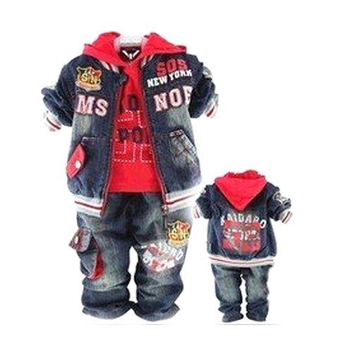 Sopo Baby Boys Cute Outfits 3 Piece Set Cowboy Suit (Jacket+Chaqueta+Jeans) 2-4Y