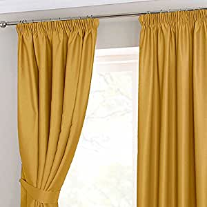 Homescapes Mustard Yellow Ochre Pencil Pleat Blackout Thermal Curtains Pair Width 45 X 54 Inch