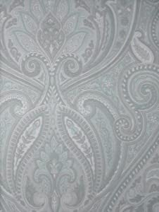 Soft Blue Pale Gray And White Roseman Paisley Fabric