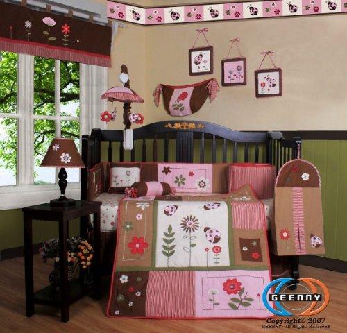 Boutique Brand New GEENNY LadyBug Flower 13PCS CRIB BEDDING SET