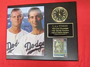 Sandy Koufax Don Drysdale Collectors Clock Plaque w 8x10 Photo and Card by J & C Baseball Clubhouse