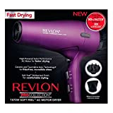 Revlon 1875W AC Motor Power Dry Hair Dryer, Purple with Soft Rubberized Feel for Comfort