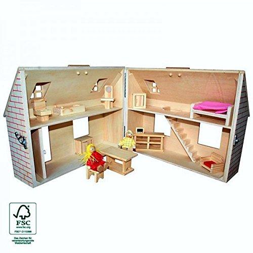 Puppenhaus im Koffer tragbar aus Holz mit 2 Puppen