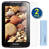 GTMax 2-Pack Premium HD Guard Film Clear LCD Screen Protector for Lenovo IdeaTab A1000 7'' / 7 Inch Android Tablet with Microfiber Cloth