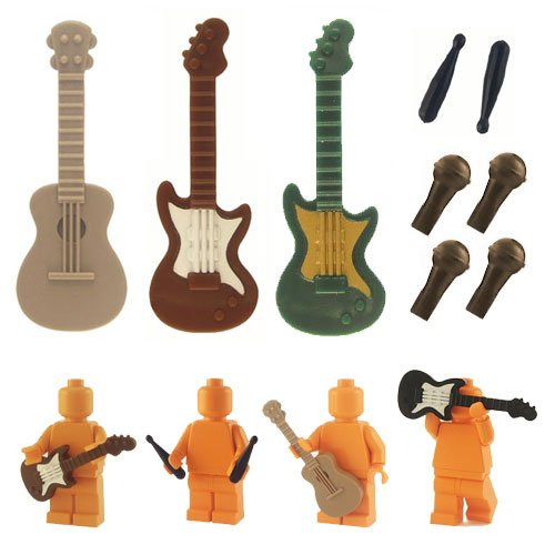 Custom Musical Instruments - Acoustic Guitar , Electric Guitar , Drum Sticks , Microphone (for Lego Minifigures)