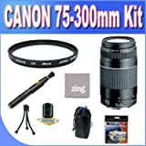 Canon EF 75-300mm f/4-5.6 III Telephoto Zoom Lens for Canon SLR Cameras + UV Filter + Lens Pouch + Microfiber Cleaning Cloth + Lens Pen Cleaner + Accessory Saver Bundle!
