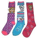 Disney Frozen Anna & Elsa Knee High Socks Size 6-8, Shoe Sz 10.5-4 - 3-pack