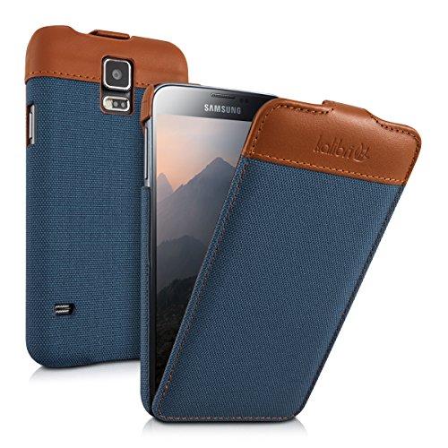 kalibri-Flip-Case-Hlle-Emma-fr-Samsung-Galaxy-S5-S5-Neo-S5-LTE-S5-Duos-Aufklappbare-Stoff-und-Echtleder-Schutzhlle-Tasche-im-Flip-Cover-Style-in-Blau-Braun
