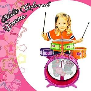 colorful girls drum set for girls kids drum set kit toy children musical instrument. Black Bedroom Furniture Sets. Home Design Ideas