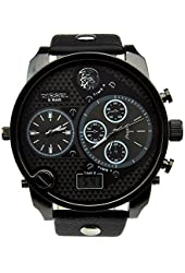Sinceda Analog Oversize Sport Military Fashion Multi Time Zone Men's Leather Wrist Watch