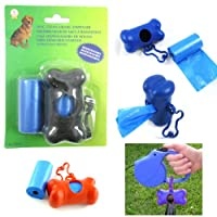 Dog Cat Poop Bag Bone Shape Dispenser Waste Clean Up Extra Roll Refill Bags New