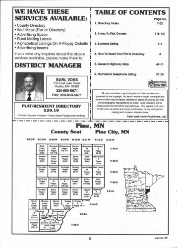 Table of Contents, Pine County 1998, Minnesota, 1998 Old Map Reproduction