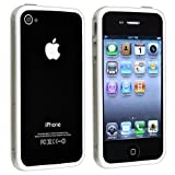 SODIAL(TM) Bumper Case with Chrome Buttons for Apple Iphone 4 / 4S - Clear and White