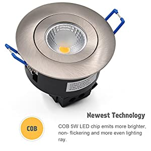 Princeway Directional 5W COB LED Recessed Downlight Fixture- 2800K Warm White Lighting Color LED Ceiling Light- Built-in Driver AC85~265V Input- Replace 50W Halogen Downlight for Home Lighting, Commercial Lighting, Accent Lighting- Nondimmable- Satin Nick