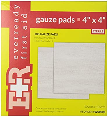 Ever Ready First Aid Sterile Gauze Pads, 4x4, 100/box by Ever Ready First Aid