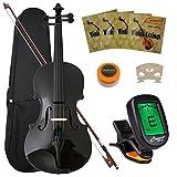 Crescent 4/4 Full Size Student Violin Starter Kit, Black Color (Includes CrescentTM Digital E-Tuner)