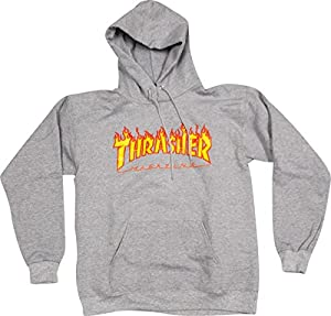 Thrasher Flames Heather Grey Medium Hooded Sweatshirt