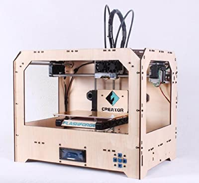 "FlashForge 3d Printer, Dual Extruder, Both ABS and PLA Compatible, 8.8""x5.7""x5.9""build Volume, W/2 Free Rolls"