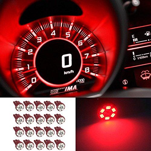 Partsam 20X Super Red Instrument Speedometer Gauge Cluster T10 168 Led Dash Light Bulb