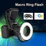 Excelvan High Quality Photography CN18H Flash Lamp-LED Ring Brightness Adjustable, Flash dslr Ring Flash Marco LED Ring Flash Light with 8 Lens Adapters 4 Diffusers Compatible with Panasonic DMC-FZ1000 DMC-FZ70K HC-X1000 HC-X920K HC-W850K HC-V750K HC-V25